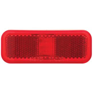 Rectangular LED Clearance/Marker Light&#x3b; 2 Diode&#x3b; White Base&#x3b; Two Wire&#x3b; Red