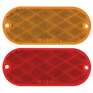 Pair Rectangular Reflectors Kit; self-adhesive; Amber and Red