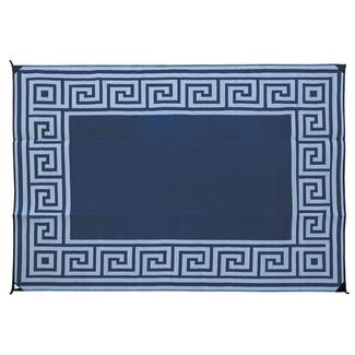Reversible Greek Motif Design Patio Mat, 6' x 9', Navy/Light Blue