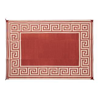 Reversible Greek Motif Design Patio Mat, 9' x 12', Terracotta/Tan