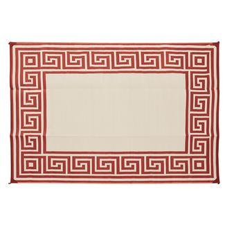 Reversible Greek Motif Design Patio Mat, 6' x 9', Terracotta/Tan