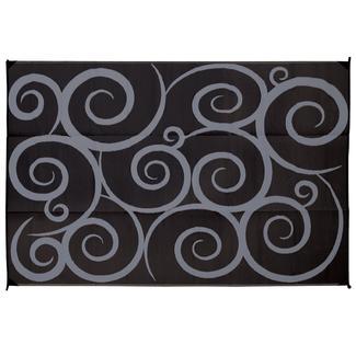 Direcsource Ltd Reversible Patio Mat, 9u0027 X 12u0027, Black/Gray Swirl