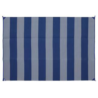 Basic Stripe Design Patio Mat, 9' x 12', Navy/Gray