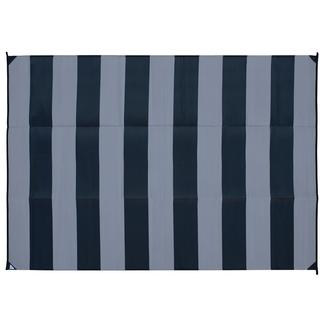 Reversible Basic Stripe Design Patio Mat, 6' x 9', Black/Gray