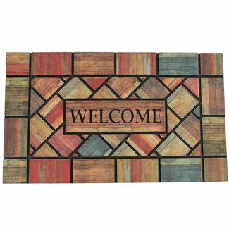 Patio Mat, Rubber, Woodland Walk Welcome Design, 18'x30', Multi-Color