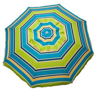 Lime Striped Beach Umbrella with Travel Bag, 7&#x27&#x3b;