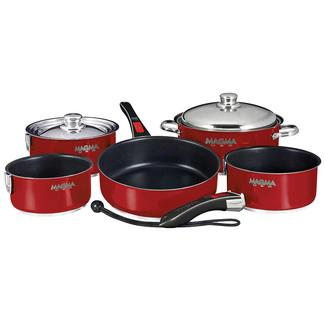 Stainless Steel Nesting RV Induction Cookware, 10 Piece Set, Red