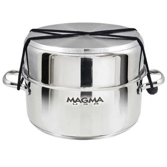 """Magma 10-Piece """"Nesting"""" Stainless Steel Induction Cookware Set with Ceramica Non-Stick"""