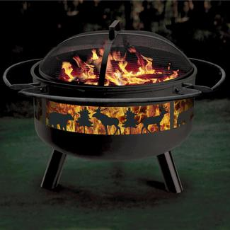 Big Game Solid-Steel Fire Pit&#x2f&#x3b;Grill Combo