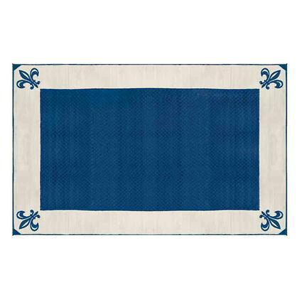 Patio Mat, Polypropylene, Fleur De Lis Design, 9x12, Navy