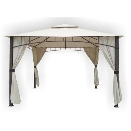 Soho Sqaure Column Two-Tier Gazebo with Faux Privacy Screen & Insect Screen