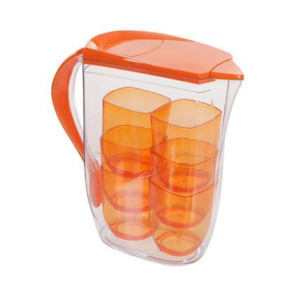 Clear Pitcher 6 Cup Set, Orange