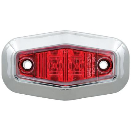 Mini Sealed LED Clearance/Marker Light; Red; w/ Chrome Trim Ring