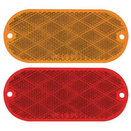 Pair Rectangular Reflectors Kit; self-adhesive; Amber and Red