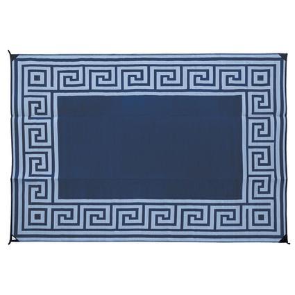 Reversible Patio Mats, 9' x 12' Greek Design Navy/Light Blue