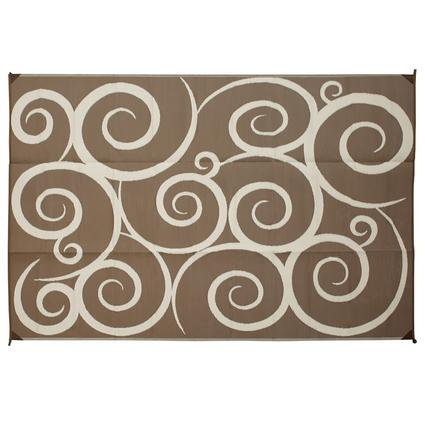 Patio Mat, Polypropylene, Swirl Design, 9x12, Brown/Cream