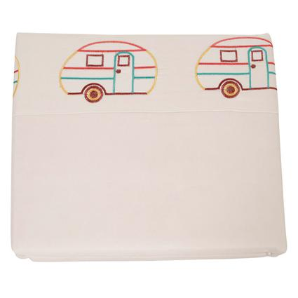 Microfiber Camping Theme Sheets, White with Vintage RV, Short Queen