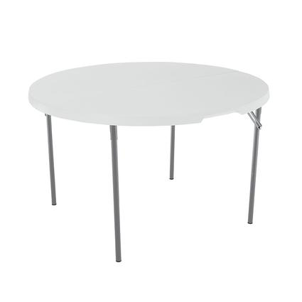 White Round Light Commercial Fold-in-Half Table, 48