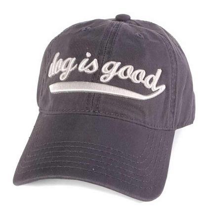 Dog is Good Script Cap, Charcoal Gray