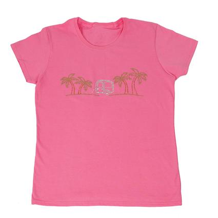 Womens Bright Palms Tee, Pink Large