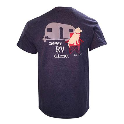 Dog is Good Never RV Alone Unisex Tee, Blue Heather, Medium