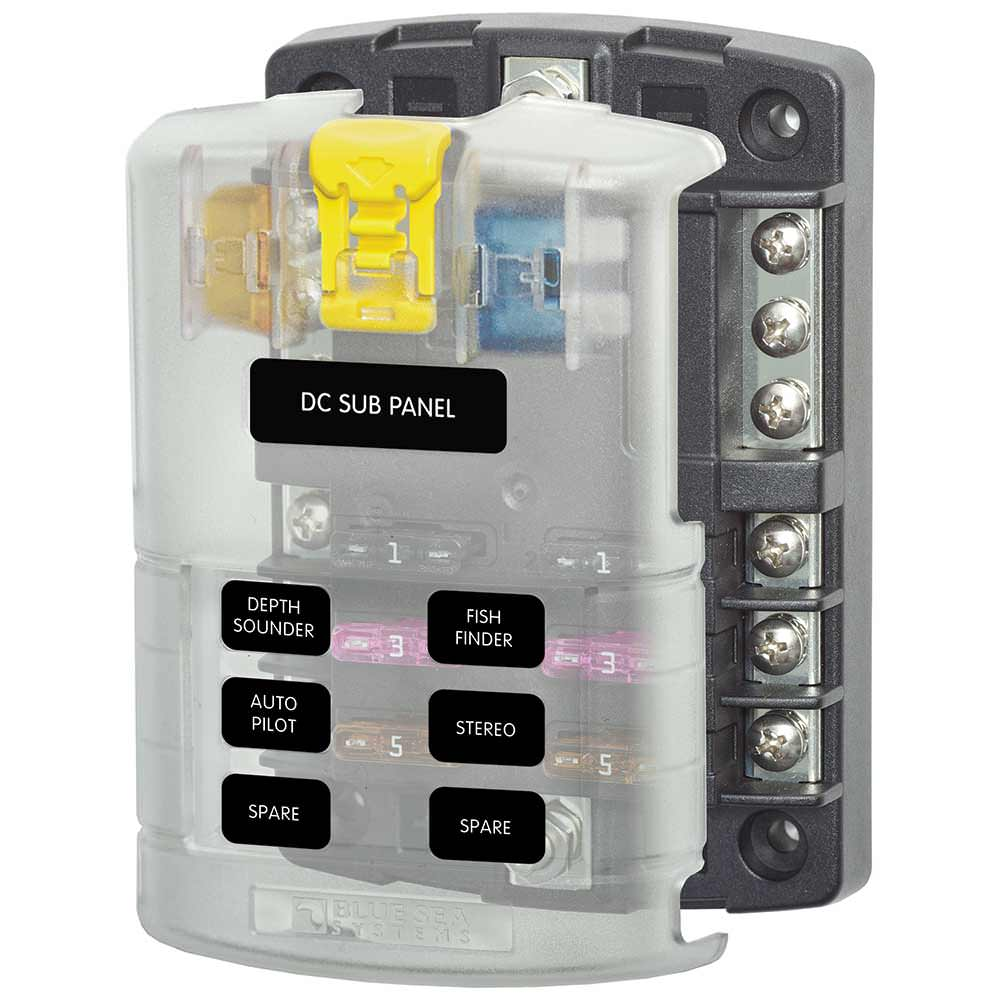 ST Blade Fuse Block Ð 6 Circuits with Negative Bus and Cover - Blue Sea  Systems Inc 5025 - Battery Accessories - Camping World