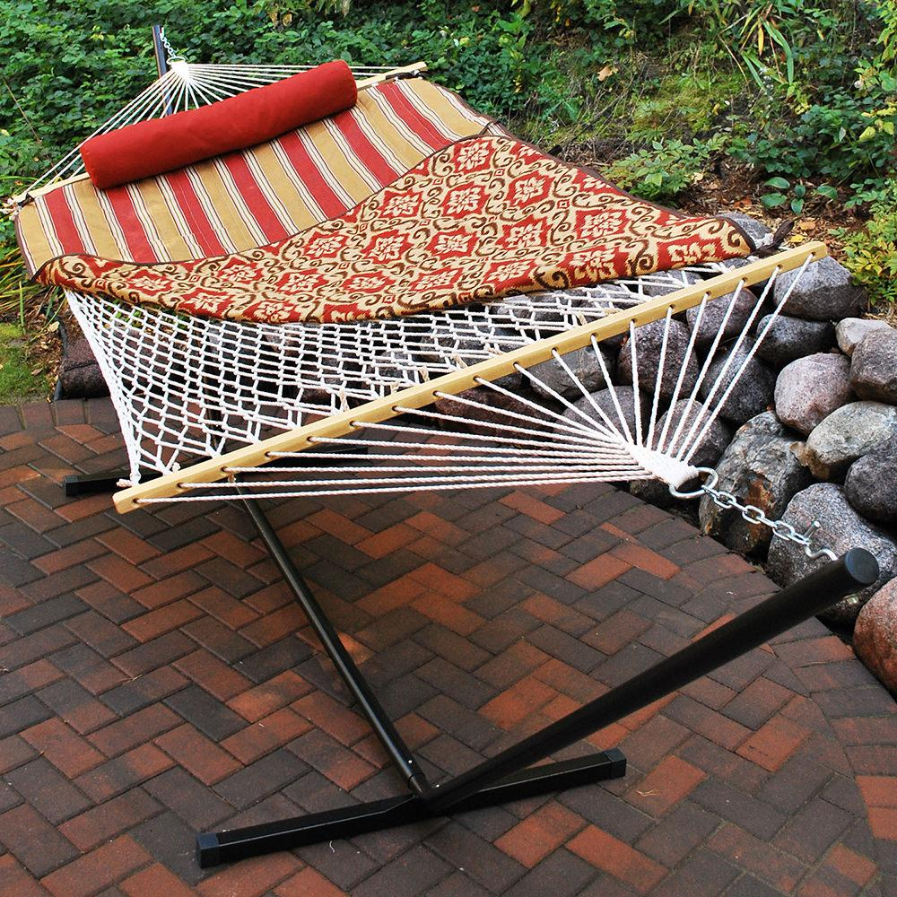 cotton rope hammock stand pad and pillow  bination red      rh   campingworld