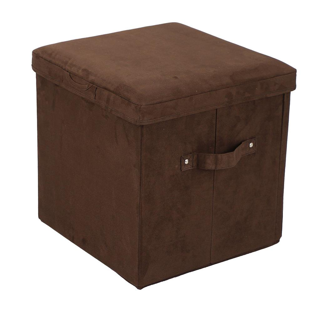 folding storage ottoman microsuede brown yu shan co usa ltd 112