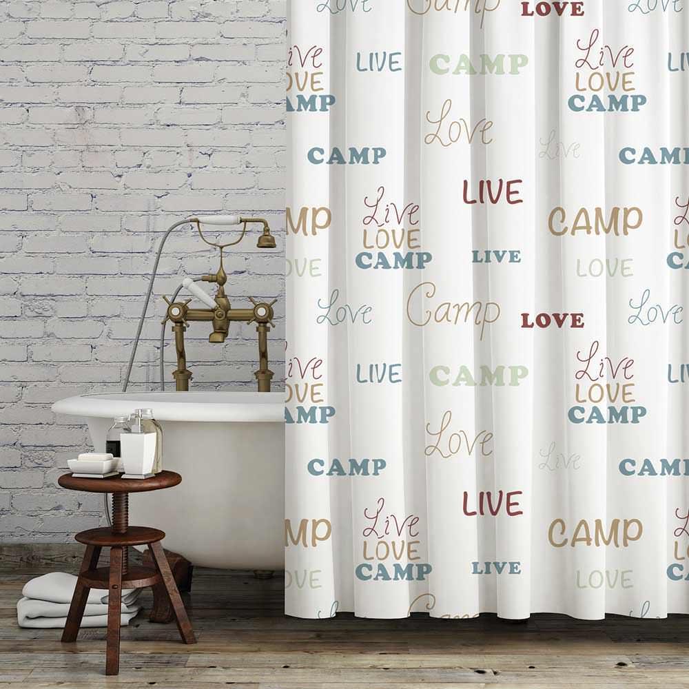 Rv curtains motorhome class a - Live Love Camp Bath Set White