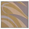 Reversible Graphic Design Patio Mat, 8' x 12', Brown/Gold