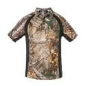 Realtree Men's Short Sleeve Polo Shirt, Black, Medium