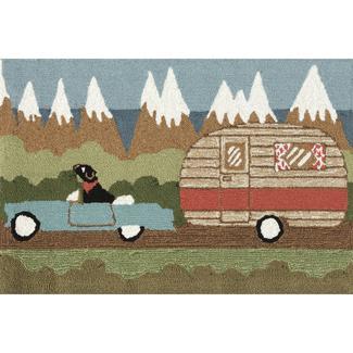 Green Camping Dog Rug, 24&quot&#x3b; x 36&quot&#x3b;