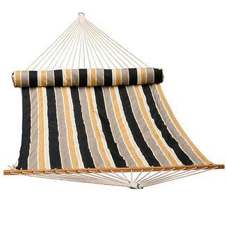 Reversible Quilted Hammock with Pillow, Tan - 13&#x27&#x3b;
