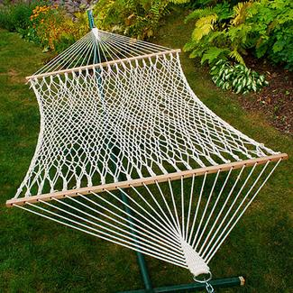 Double Cotton Rope Hammock, White - 13&#x27&#x3b;