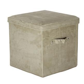 Folding Storage Ottoman - Microsuede, Beige