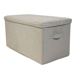 Folding Storage Bench - Microsuede, Beige