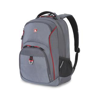 SwissGear Backpack with Padded Computer Pouch and Tablet Pocket, Gray/Red