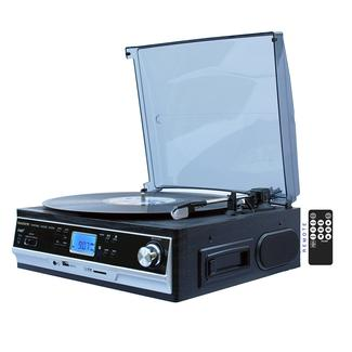 5-in-1 Turntable with Cassette, Black