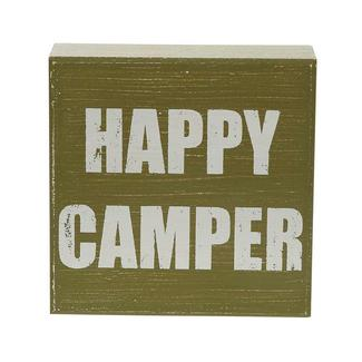 Wooden Camp Art, Happy Camper, Green