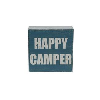 Wooden Camp Art, Happy Camper, Blue
