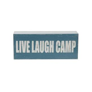 Wooden Camp Art, Live Laugh Camp, Blue