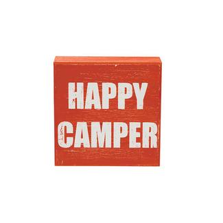 Wooden Camp Art, Happy Camper, Terracotta