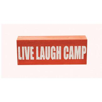 Wooden Camp Art, Live Laugh Camp, Terracotta