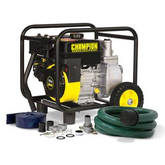 Champion 2&quot&#x3b; Semi-Trash Water Transfer Pump with Hose and Wheel Kit