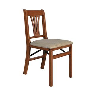 Urn Back Folding Chair, Cherry