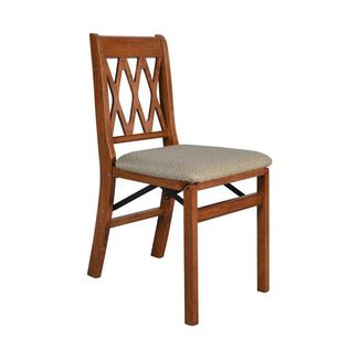 Lattice Back Folding Chair, Cherry