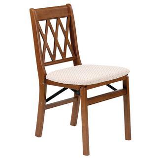 Lattice Back Folding Chair, Fruitwood