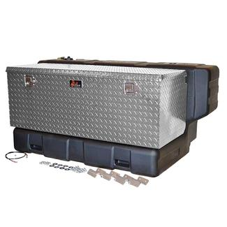 Titan In-Bed Fuel Transfer Tank, 90 Gallon Hammerhead L-Shaped Transfer Tank with Bright Diamond Aluminum Utility Box