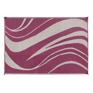 Reversible Wave Design Patio Mat, 6' x 9', Beige/Bordeaux