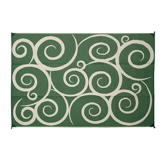 Reversible Swirl Design Patio Mat, 6' x 9', Green/Cream